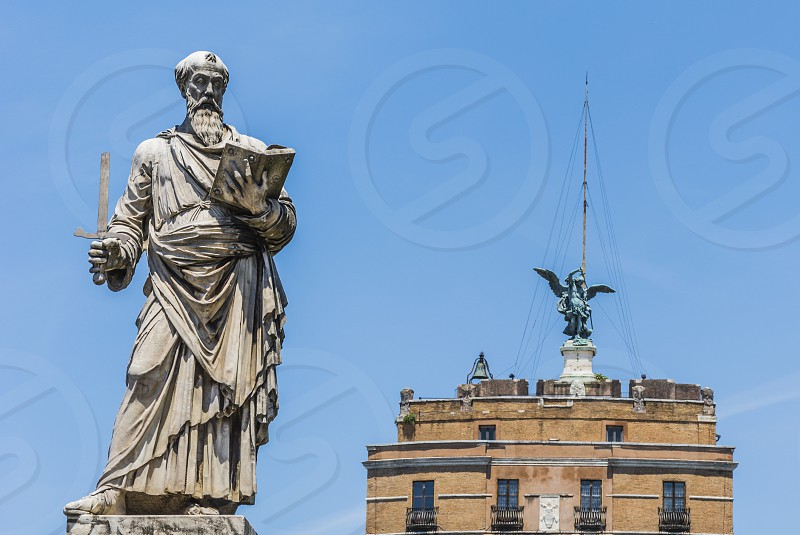 Saint Paul Statue at the beginning of Ponte Sant'Angelo in Rome photo