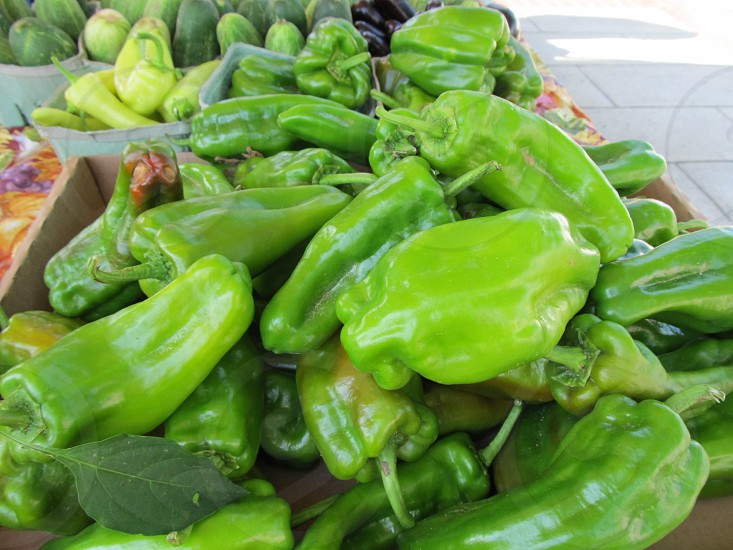 Anaheim peppers at farmers market photo