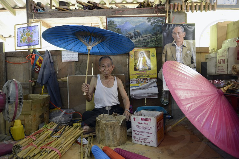 a umbrella production in the city of chiang mai in the north of Thailand in Southeastasia. 