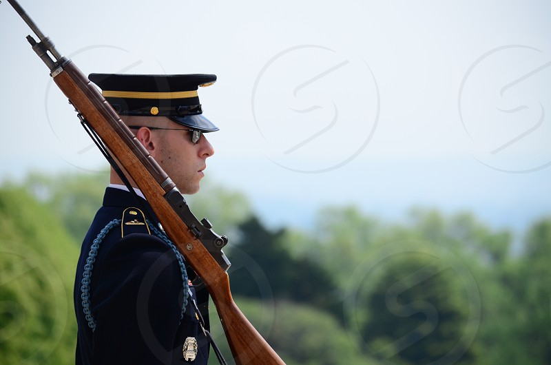 Guard at the Tomb of the Unknown Soldier in Washington DC photo