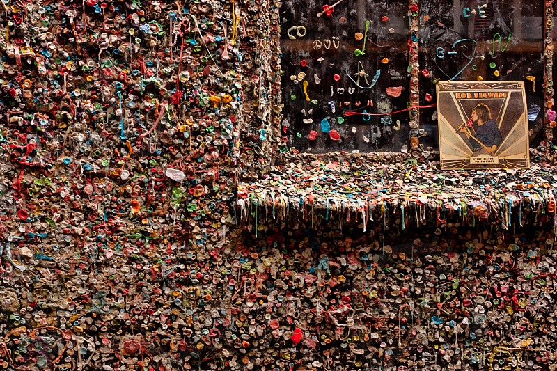 Gum wall gum wall Seattle tourism alley pike place market history  photo