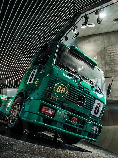 green Mercedes Benz truck photo