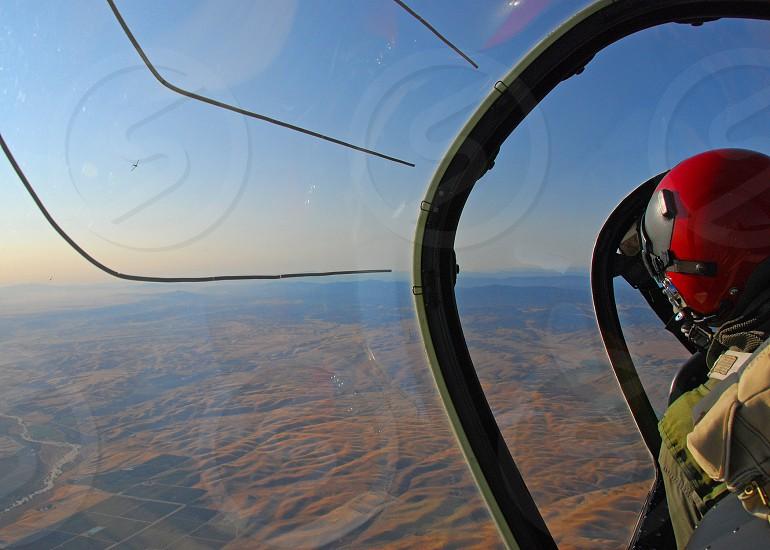 A beautiful Saturday morning over Paso Robles California in a T-28 Trojan.  photo