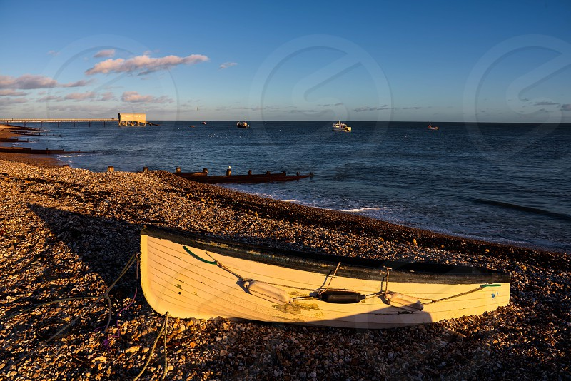 Evening Light on a Rowing Boat at Selsey Bill photo