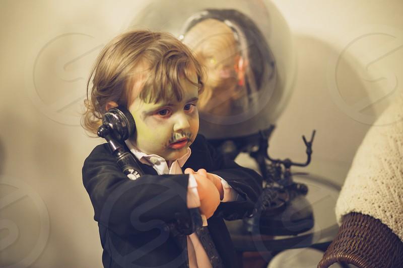 zombiehalloween  toddler costume phone pretend photo