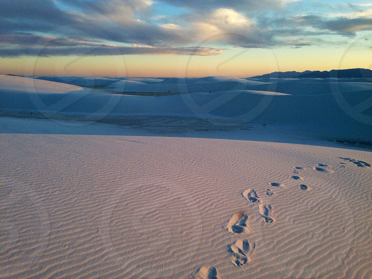 Sunset at White Sands National Monument. photo