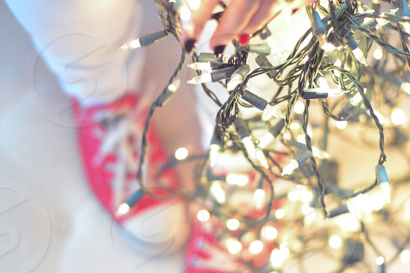 Red converse and holiday lights photo