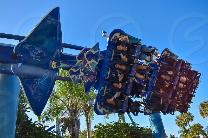 Orlando Florida . February 26  2019. People enjoying Manta Ray rollercoaster at Seaworld Theme Park  (5) photo