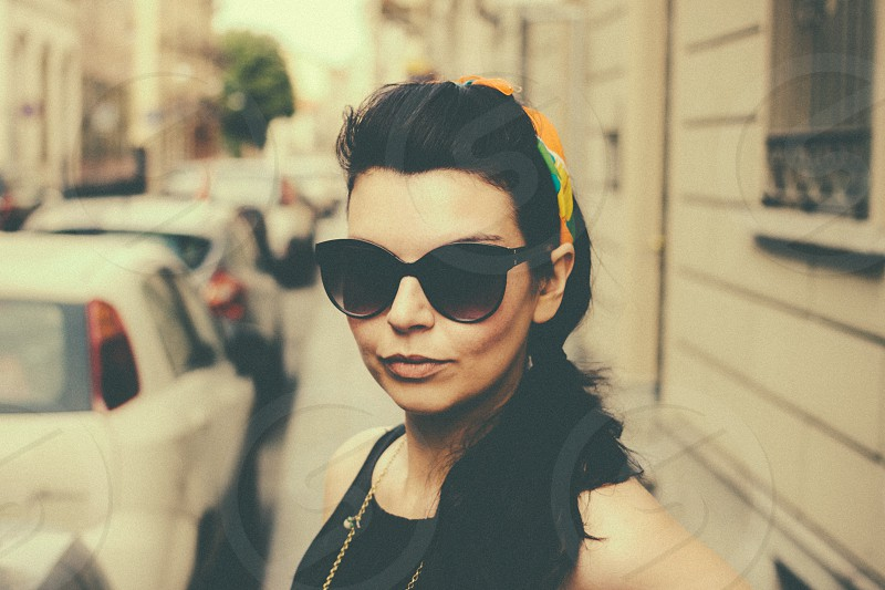 women's black sunglasses photo