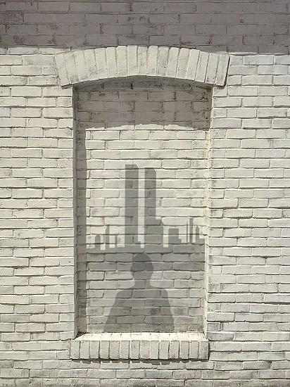 window blocked wall bricks New York skyline shadow abstract art artistic monochrome person witness 9/11 NYC USA impression imaginary juxtaposition  photo