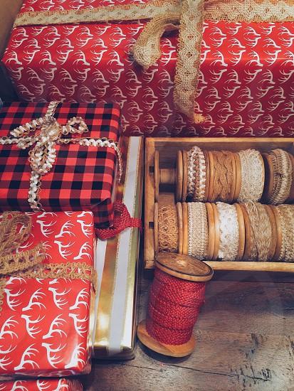 Christmas presents ribbon photo