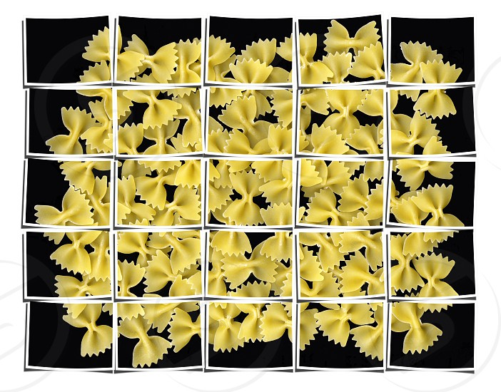 bow tie pasta collage composition of multiple images over white photo