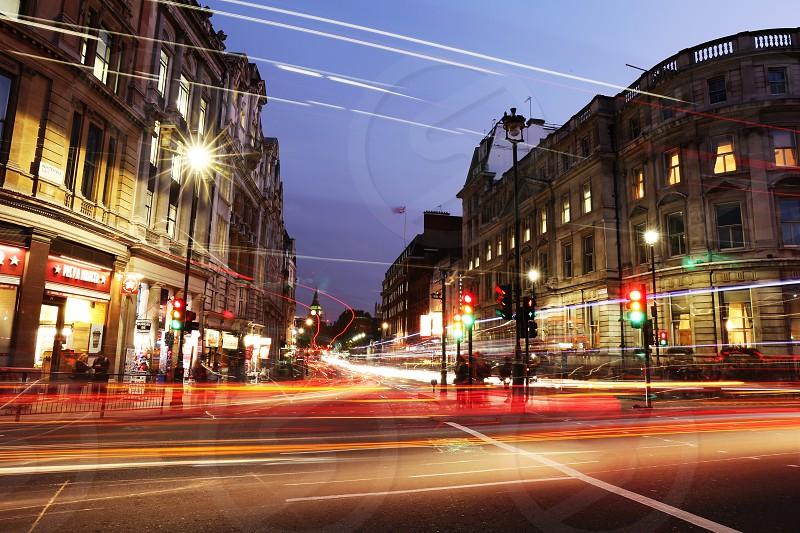 Charring Cross Square; Trafalgar Square; london; uk; england; travel; night; shot; light trails; traffic; cars; movement; traffic; moving; motion; photo