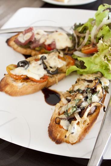 Bruschetta mushrooms and onions photo