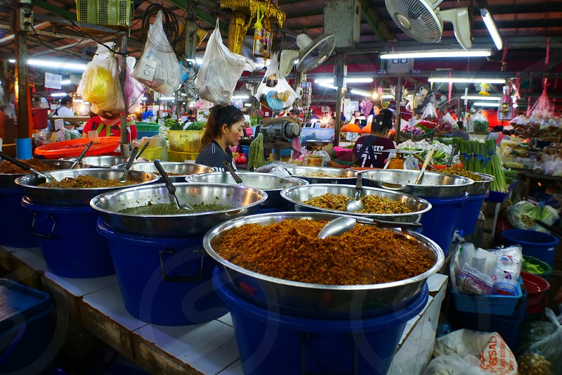 Night market and Street Food and drinks Bangkok Thai photo