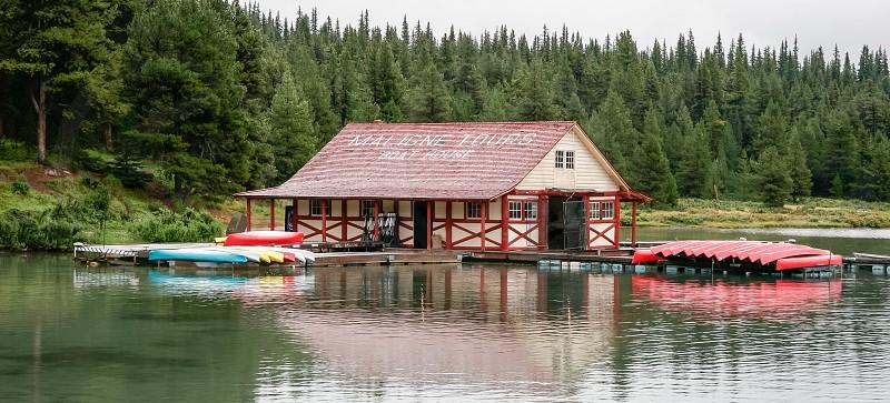 The boathouse at Maligne Lake photo
