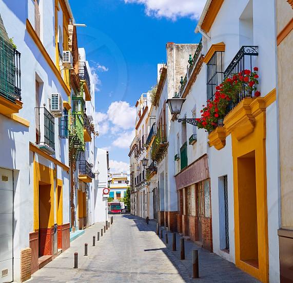 Triana barrio facades in Seville Andalusia Spain Sevilla photo