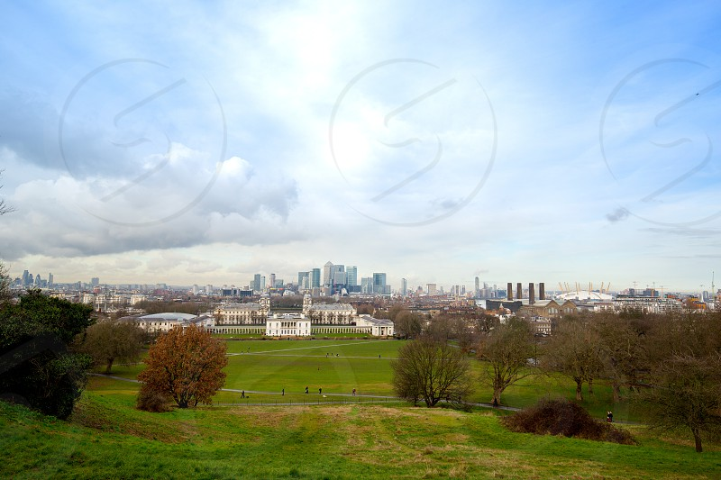 Magnificent view from the Greenwich Observatory taking in sights such as Docklands and the Royal Naval College in London. photo