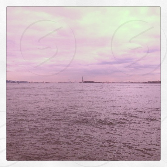 New York City street view Manhattan Hudson River Statue of Liberty photo