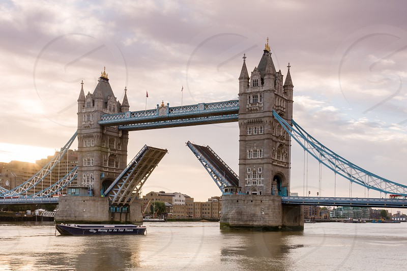 Europe - United Kingdom - England - London A view featuring Tower Bridge opened. photo