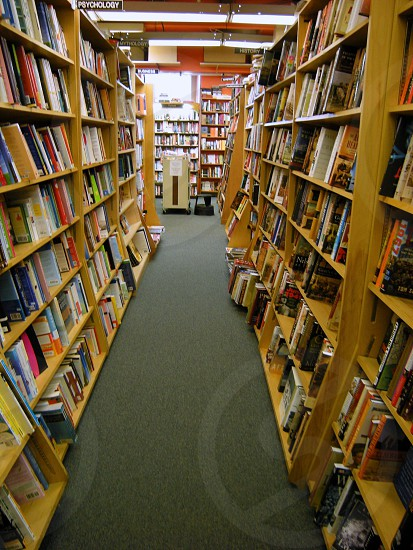 Bookshelves in a bookstore photo