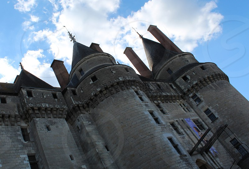 Towers of the medieval chateau at Langeais Loire France  photo