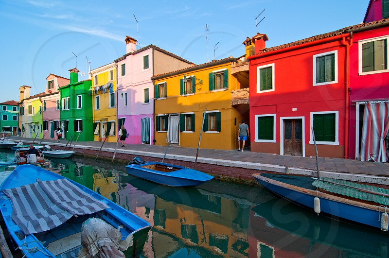 Italy Venice Burano island with traditional colorful houses  photo