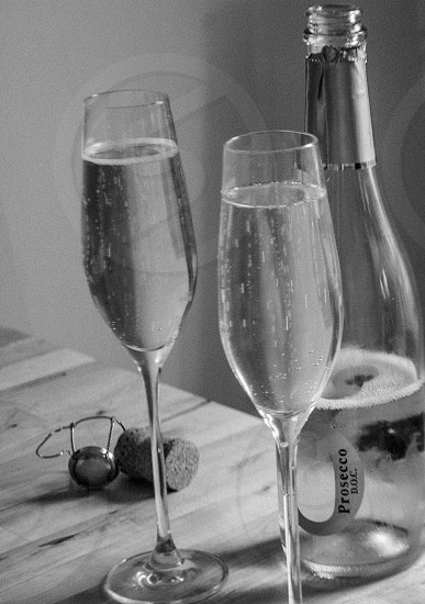Sparkling Wine in Black and White photo
