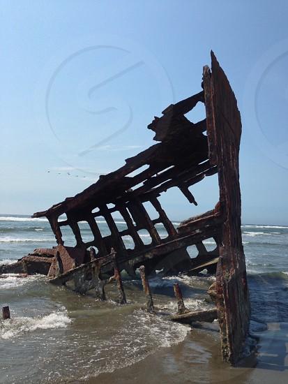 Peter Iredale ship wreck fort Lewis Warrenton Oregon beach Pacific Ocean sand surf  photo