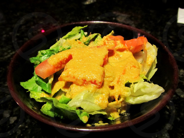 Japanese salad with ginger dressing photo