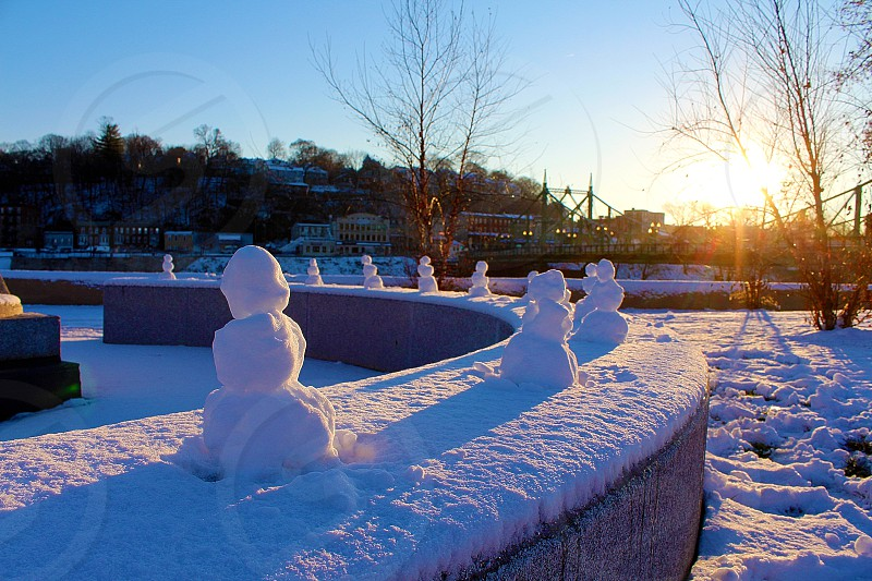 Snowmen in the park. photo