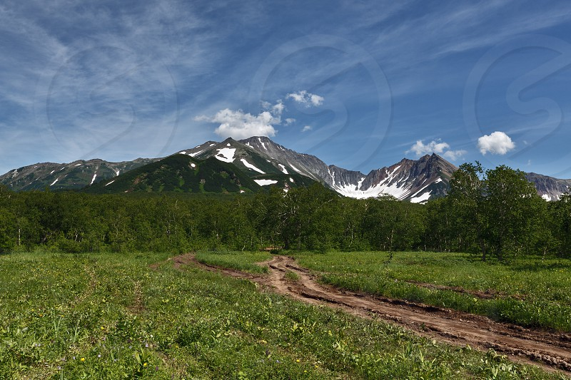 Nature of Kamchatka Peninsula: forest road in mountains on a sunny day. Russia Far East Kamchatka Peninsula photo