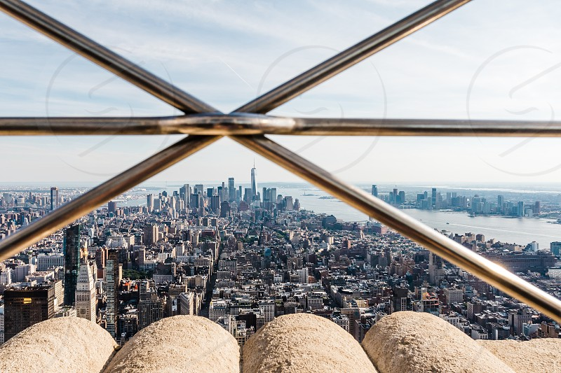 A view of the New York skyline from the top of a building. photo