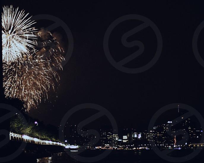 Fireworks • New York • NYC • New Years • city • river  photo