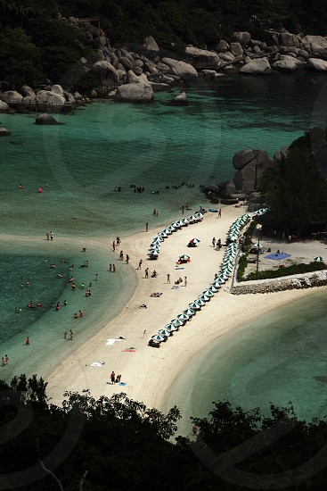 the smal Island of  Ko Nang Yuan near the Ko Tao Island in the Gulf of Thailand in the southeast of Thailand in Southeastasia. photo