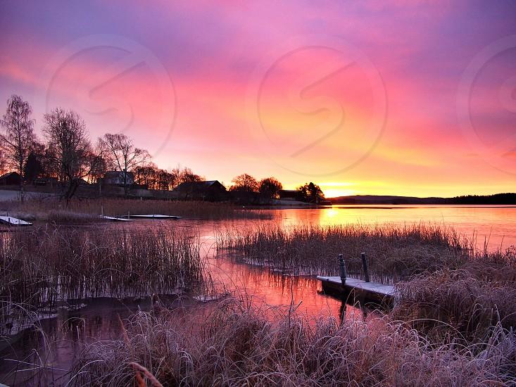 Sunrise sun nature landscape water lake reflecting photo