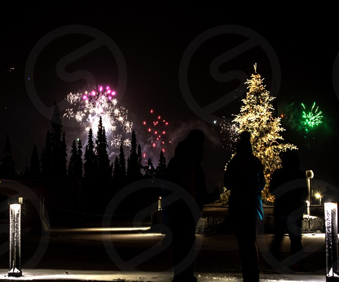 New years eve in the mountains FireWorks holidays season celebration  photo