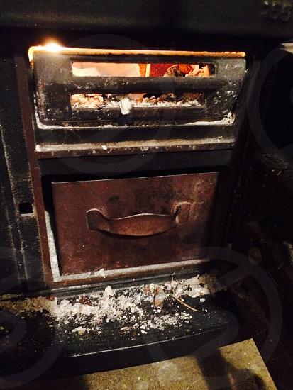 Fire wood burner fire started photo
