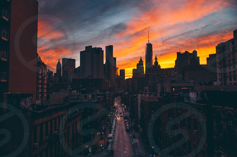 Sunset captured from the Manhattan Bridge walkway. photo