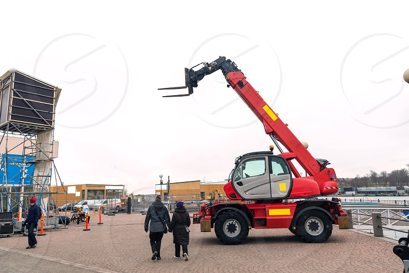 Red loader bulldozer crane construction machine  photo