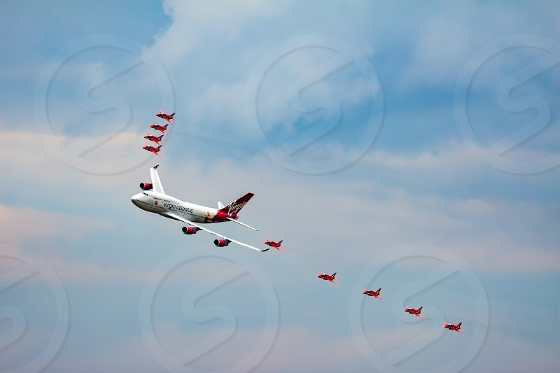 Virgin Atlantic Boeing 747-400 and Red Arrows Aerial Display at Biggin Hill Airshow photo