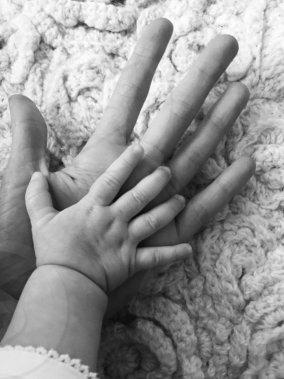 Highfive high five hands little handinhand blackandwhite  photo