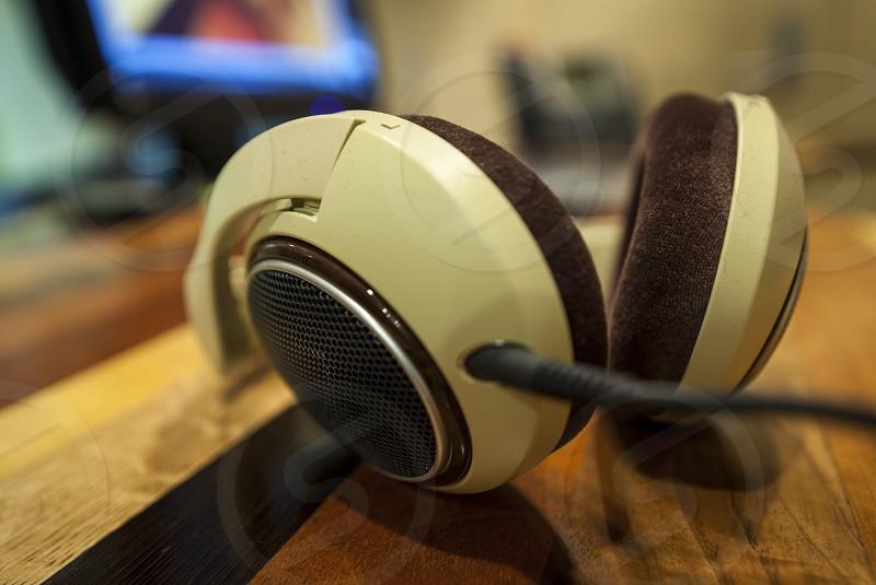 Headphone desk photo