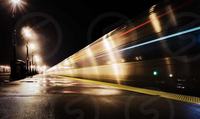 Departing into the night train  photo