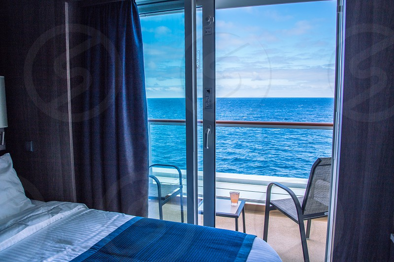 Stateroom with balcony on cruise ship photo