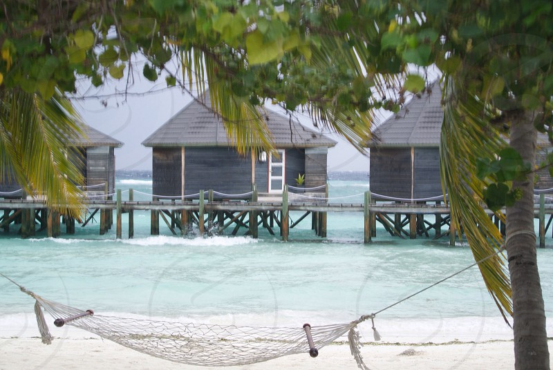 Walking bridge maldives. Kuredu Island  photo