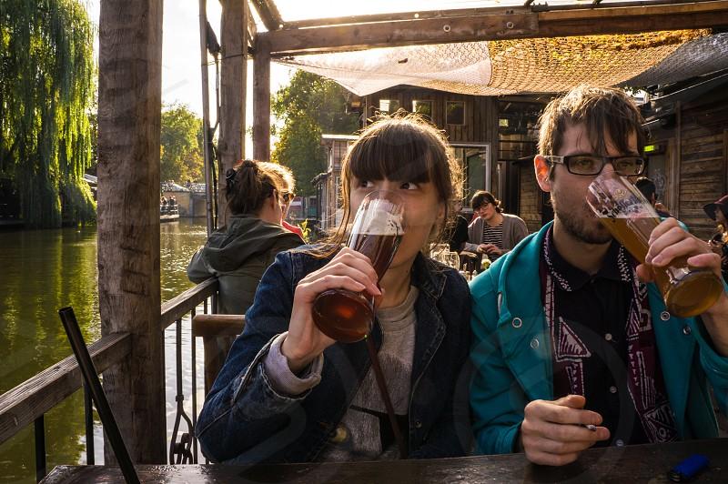 Enjoying beer in Berlin photo