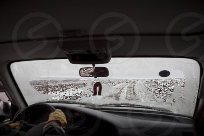ice snow car road Uyuni Bolivia steering wheel window cold mirror nature natural vision photo