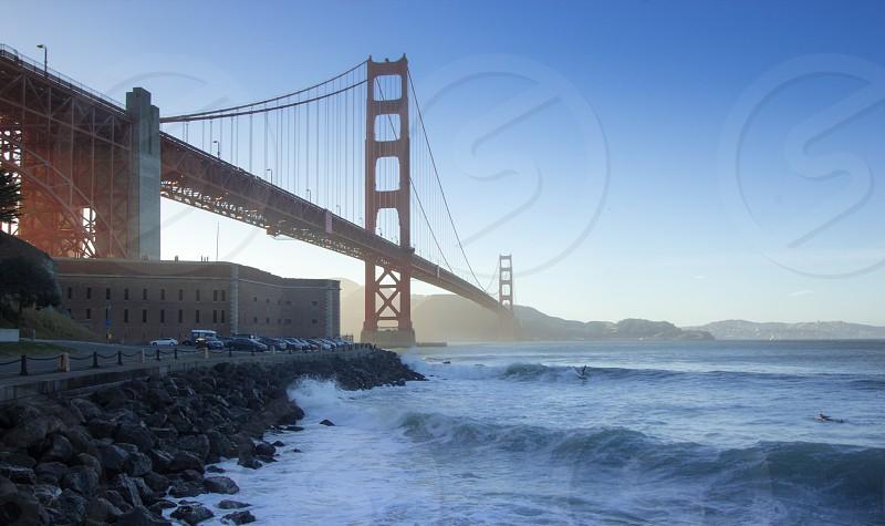 San Francisco California Golden Gate Bridge Surfers photo