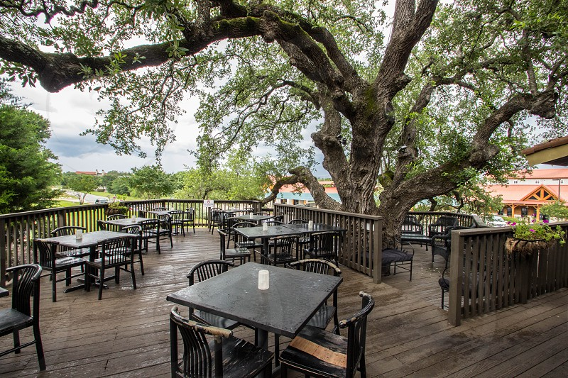 brown square dining tables on brown wooden deck near green trees photo